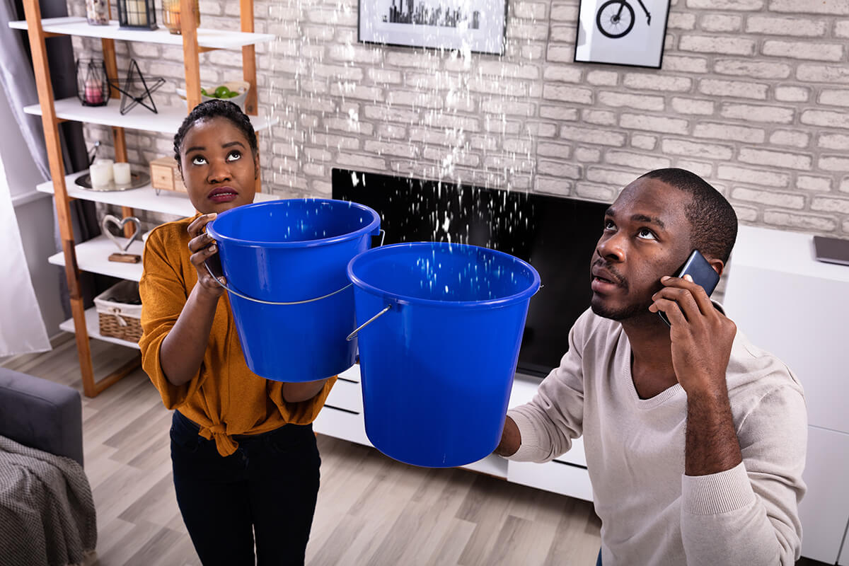 Couple Using Bucket For Collecting Water Leaking From Ceiling